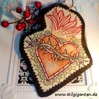 """Schlüssel,-Taschenanhänger """"Herz mit Dornenkranz"""""""