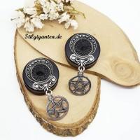 Plugs Pentagramm silber klein GROSS