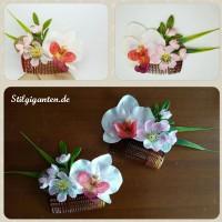 Haarkamm Orchidee und Kirschbluete