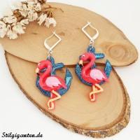 Ohrhaenger Anker blau glitzer flamingo