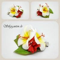Blume Frangipani weiss rot NEU