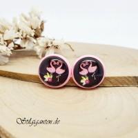 Ohrstecker Flamingos Rosa Fassung