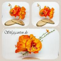 Haarkamm ORANGE Hibiskus und Orchidee