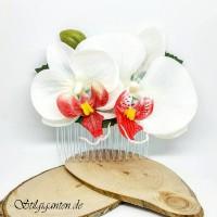 Haarkamm Orchideen weiss mit pink