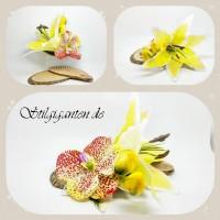 Haarkamm gelb und bunte orchidee