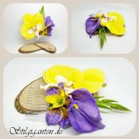 Haarkamm gelbe orchidee lila lilie
