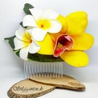 Haarkamm grosse gelbe orchidee