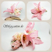 Haarkamm rosa lilie gross