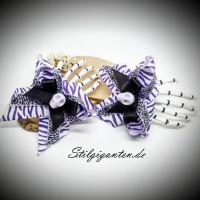 Skeletthand Haarspange weiss lila Zebra