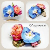 Haarkamm blaue Orchidee und pinke Rose