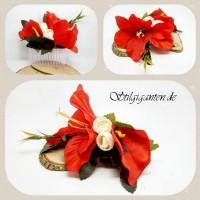 Haarkamm rote lilien