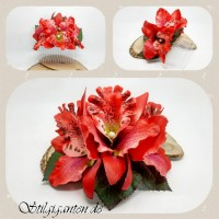 Haarkamm Rote Orchidee NEU