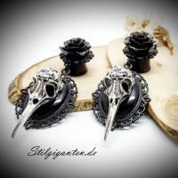Plugs Vogelschaedel silber ROSE schwarz